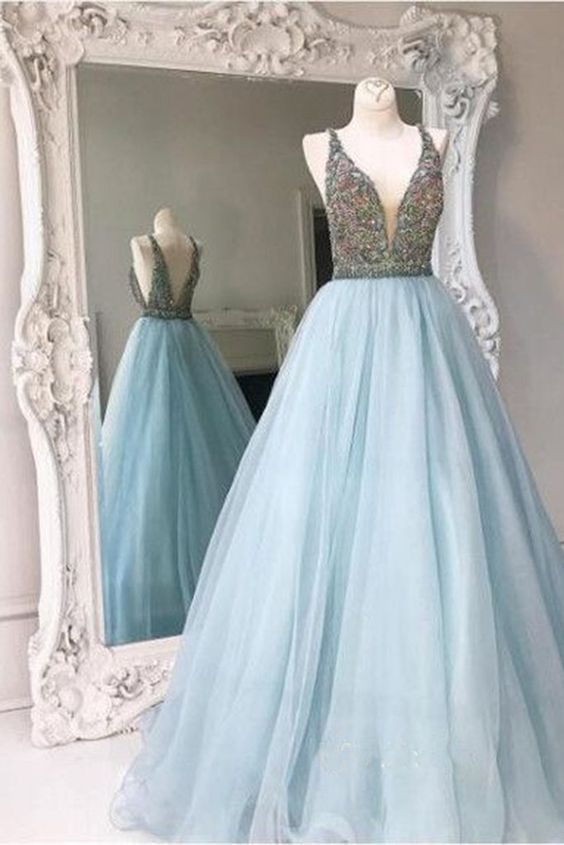 Classy V-neck Long Prom Dresses,Light Blue Prom Dress,Nice ...