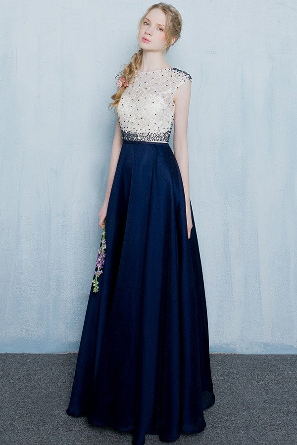 Zipper Back Dark Blue Long Prom Dressesevening Dresseshandmade