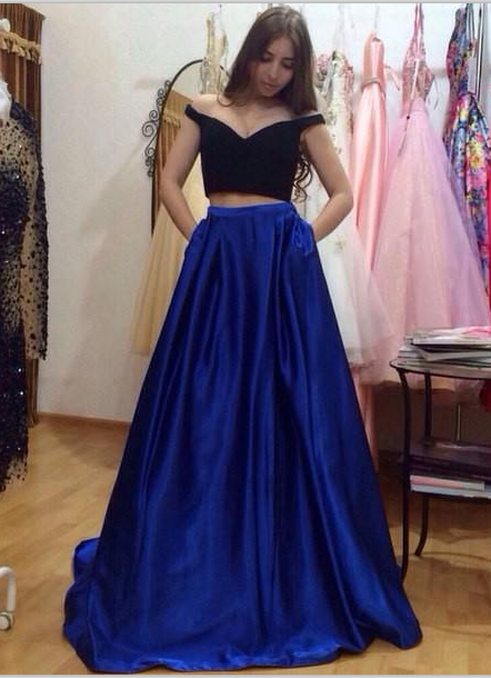 Sparkly A Line Black Top And Royal Blue Skirt Long Prom Dresses
