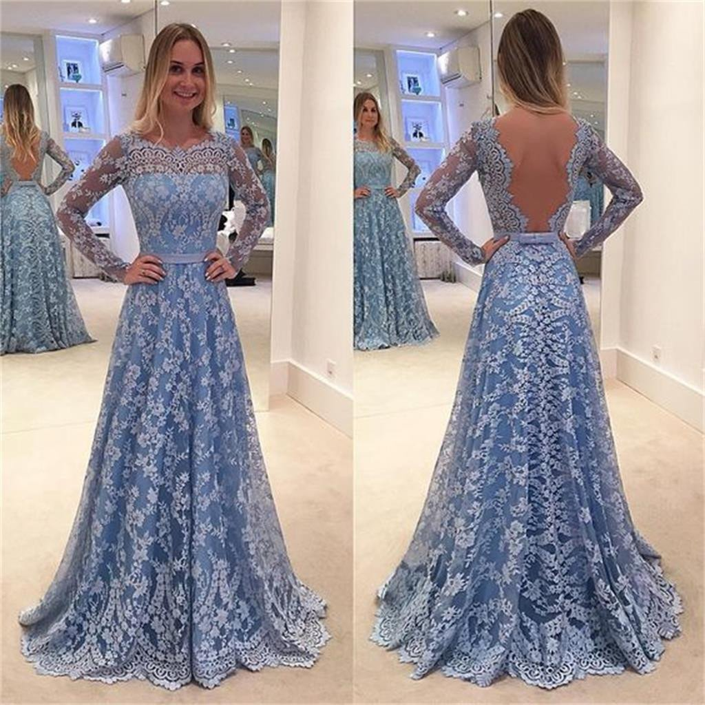 Blue Lace Prom Dresses,Long Sleeves Prom Dresses,A-line Prom Dresses ...