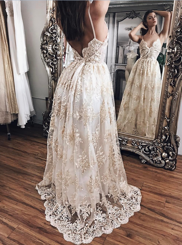 Champagne Lace With White Lining Prom Dresses,Princess Prom Dresses ...