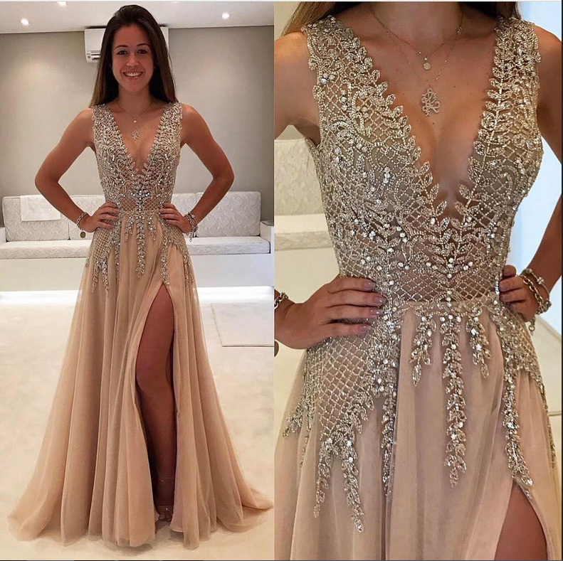 Champagne Prom Dresses,Deep V-neck Prom Dress,Sparkly Prom Dresses ...