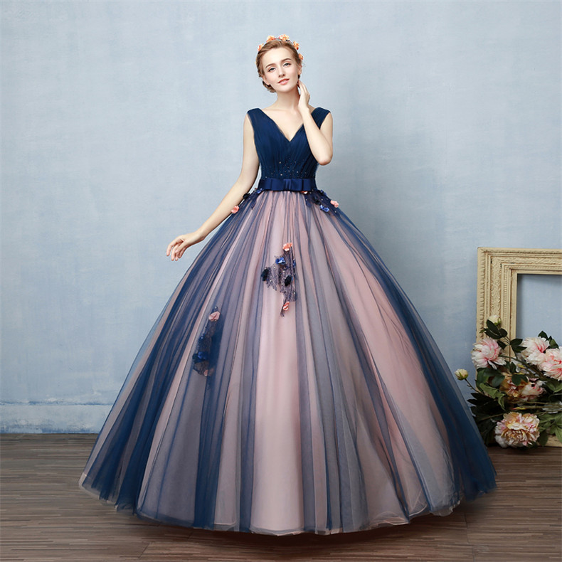 Navy Blue And Pink Prom Dresses,Ball Gowns Prom Dresses,Princess ...