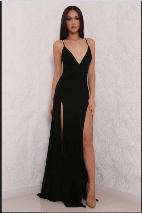 Sexy Black Prom Dresses,Prom Gowns,Evening Dresses,Prom Dresses For Teens,Simple V-neck Prom Dresses,Spakrly Beauty Party Dresses DR0006