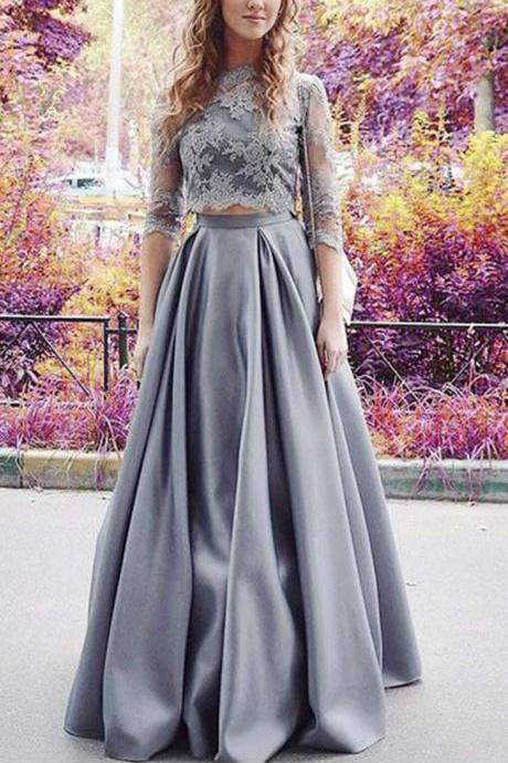 Gray Prom Dresses,Two Pieces Prom Dresses,A-line Prom Dress,Lace Prom Dresses,Beautiful Prom Gowns,Elegant Prom Dress,Prom Dresses With Sleeves,Party Dresses,Prom Dresses 2017 DR0057