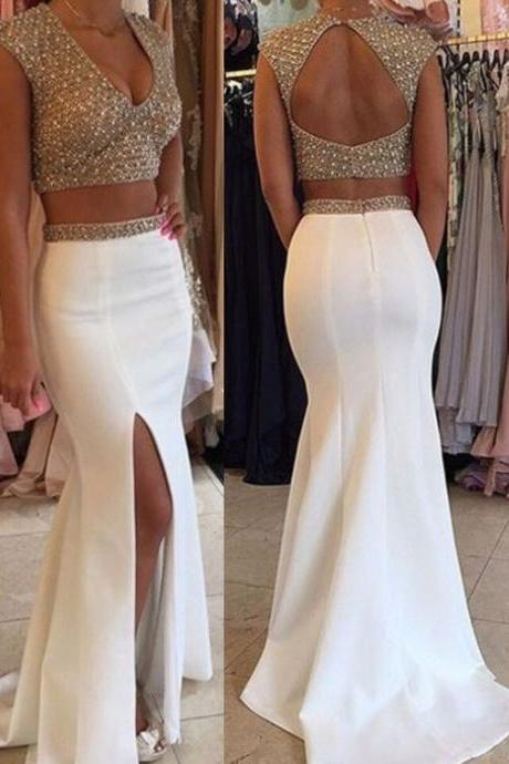 Two Pieces Prom Dresses,Mermaid Prom Dresses,V-neck Prom Dresses,Open Backless Prom Dresses,Prom Dresses For Teens,Evening Dresses,Pretty Party Dresses,Sparkly Prom Dresses,Cute Dresses DR0061