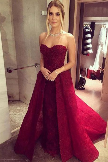 Red Prom Dress,Long Prom Dresses,Gorgeous Lace Prom Dresses,Prom Dresses For Teens,Princess Prom Dress,Pretty Prom Dress,Women Dresses,Evening Dresses DR0083