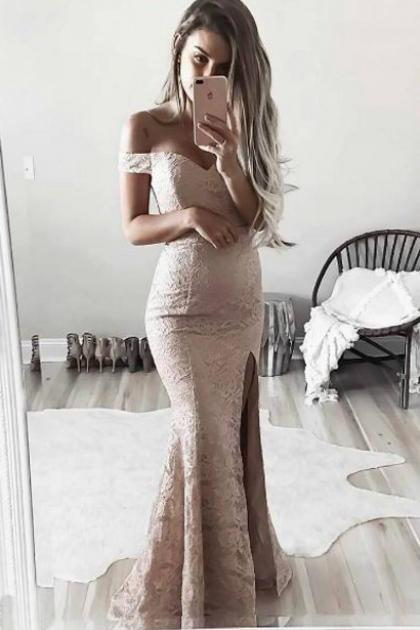 Off Shoulder Prom Dresses,Lace Prom Dress,Long Prom Dress,Evening Dresses,Front Split Prom Dress,Elegant Prom Gowns,Mermaid Prom Dresses DR0086