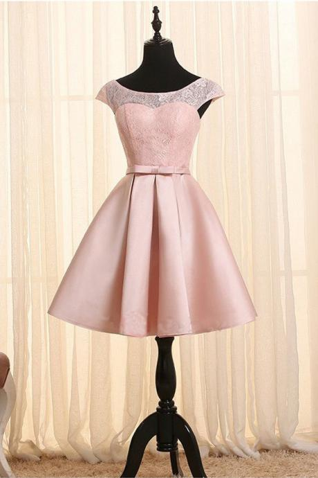 Pink Lace Up Homecoming Dresses,Short Homecoming Dresses,Cute Dresses,Handmade Cocktail Dresses,Lace Homecoming Dress DR0126
