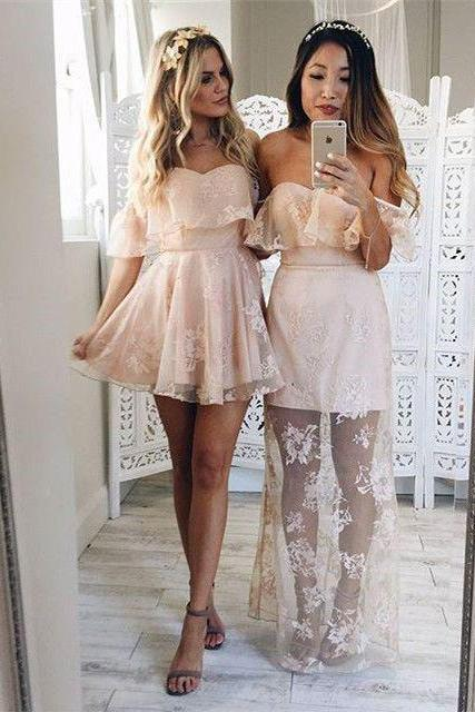 Lace Homecoming Dresses,Pink Homecoming Dresses,Cute Dresses,Pretty Cocktail Dresses,Off Shoulder Homecoming Dresses,Party Dresses,Sweet 16 Dresses,Short Homecoming Dresses DR0134