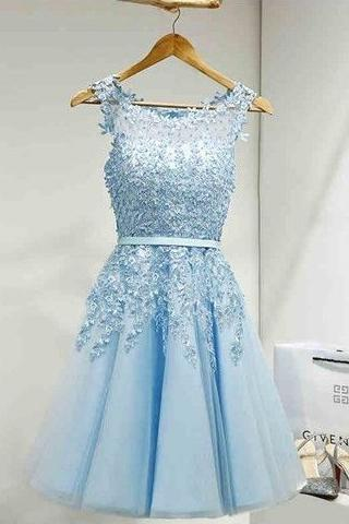 Light Blue Homecoming Dresses,Cocktail Dresses,Homecoming Dresses,Modest Homecoming Dresses,Beading Homecoming Dresses,Cute Dresses,Short Homecoming Dresses,Sweet 16 Dresses DR0145