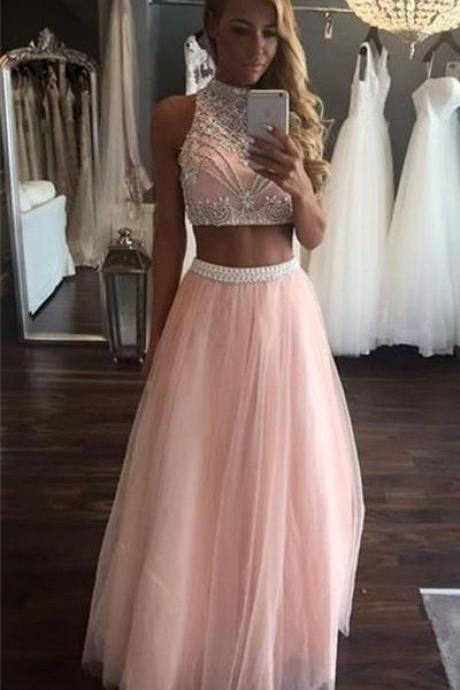 Prom Dresses,Pretty Prom Dress,Pink Prom Dress,Long Prom Dresses,Two Pieces Prom Gowns,Modest Evening Dresses,Beading Party Dresses,Women Dresses,Cute Dresses,A-line Tulle Graduation Dresses DR0177