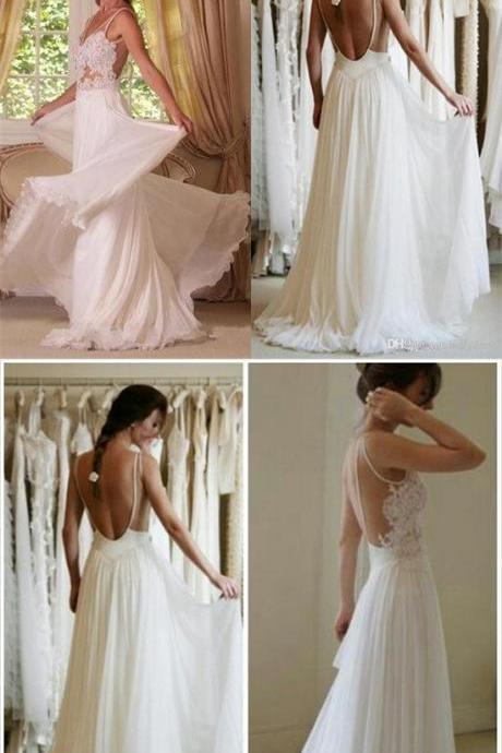 Beach Wedding Dresses,Chiffon Wedding Dresses,Backless Wedding Gowns,Wedding Dresses,Cheap Wedding Dresses,Long Wedding Dress,Bridal Dresses,Bridal Gowns DR0206