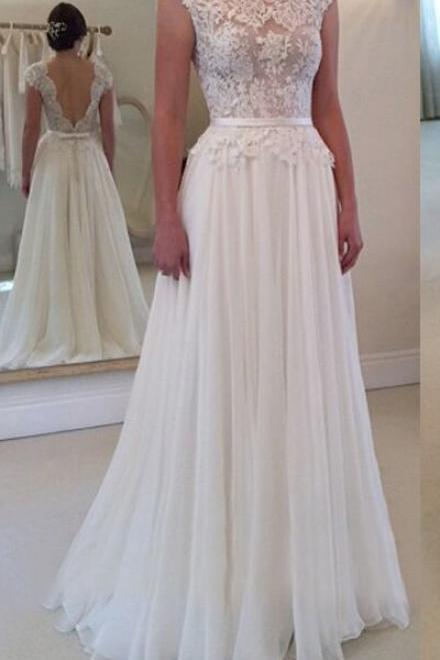 Open Back Wedding Dresses,Long Wedding Dress,Wedding Gowns,Wedding Dresses,Ivory Wedding Dresses,Tulle Wedding Dress,A-line Bridal Gowns,Elegant Bridal Dresses DR0223