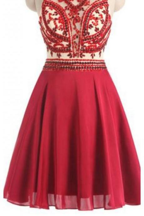 Homecoming Dresses,Red Homecoming Dresses,Chiffon Homecoming Dresses,Beading Homecoming Dresses,Cute Dresses,Open Back Cocktail Dresses,Pretty Party Dresses,Sparkly Homecoming Dresses DR0252