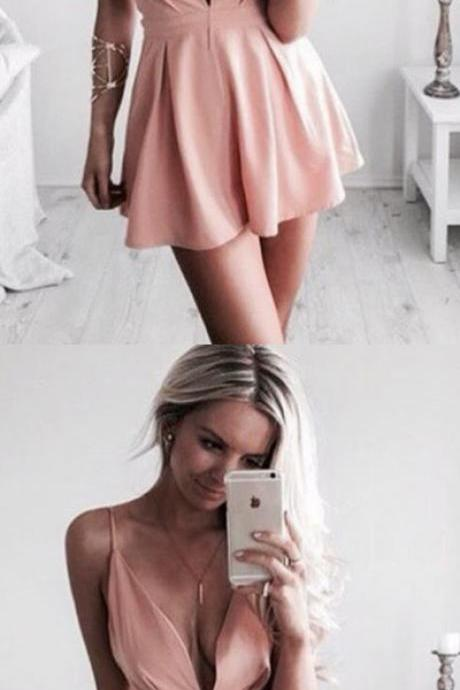 Cute Pink A-line Deep V-neck Homecoming Dresses For Teens,Simple Cheap Modest Hoemcoming Dresses,Pretty Dresses,Sweet 16 Dresses,Party Dresses,Short Prom Dresses,Short Homecoming Dresses DR0257