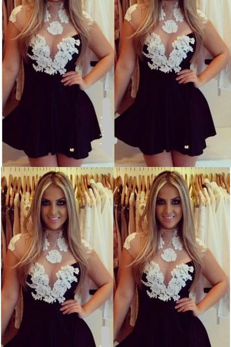 Black And White Homecoming Dresses,Lace Homecoming Dresses,Cap Sleeves Homecoming Dress,A-line Homecoming Dress,Short Homecoming Dresses,Simple Cheap Homecoming Dresses,Party Dresses,Short Homecoming Dresses DR0264