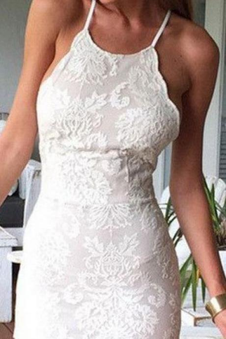White Homecoming Dresses,Mermaid Homecoming Dress,Homecoming Dresses,Lace Homecoming Dress,Short Homecoming Dress DR0351
