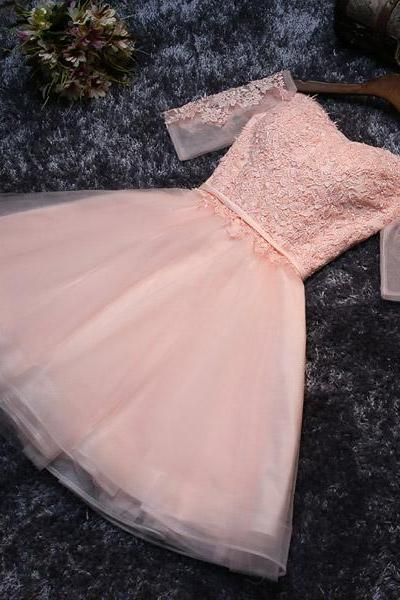 Lace Up Off Shoulder Homecoming Dresses,Blush Pink Homecoming Dresses,Short Homecoming Dresses,Homecoming Dresses With Sleeves DR0357