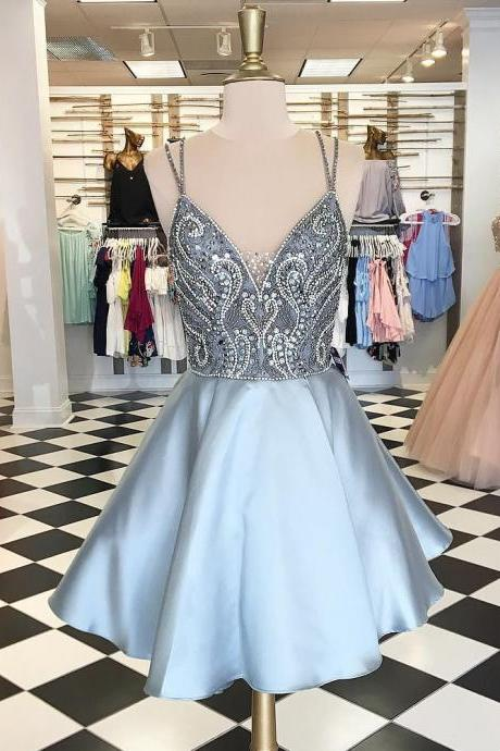 Plus Size Homecoming Dress,Sparkly Homcoming Dress,Short Homecoming Dress,Cute Dresses,Beaded Dresses DR0364