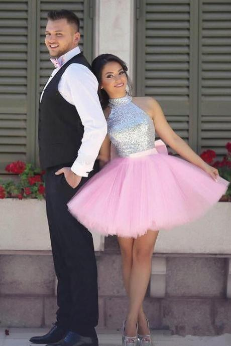 Silver And Pink Short Homecoming Dresses,Cute Dresses,Simple Cheap Homecoming Dresses,Pretty Dresses DR0379