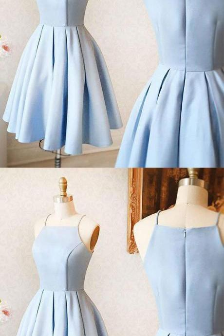 Sky Blue Homecoming Dresses,Short Prom Dresses,Party Dresses,Cocktail Dresses,Satin Homecoming Dresses,Short Homecoming Dresses,Chep Homecoming Dresses,Simple Homecoming Dresses DR0395