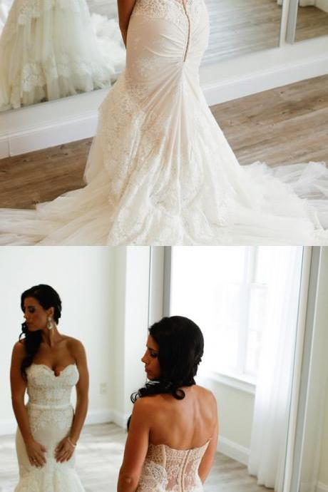 Wedding Dresses,Mermaid Ivory Lace Sweetheart Long Wedding Dresss,Elegant Wedding Dress,Wedding Gowns,Bridal Dresses,Dresses For Wedding,Bridal Gowns DR0406