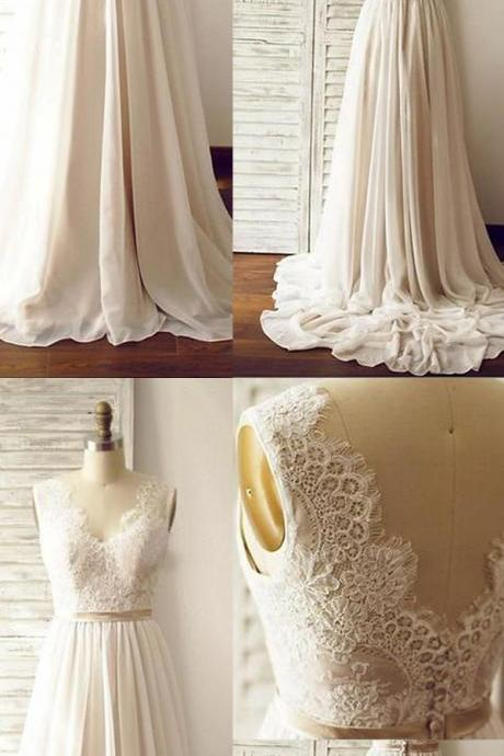 Long Chiffon Beach Wedding Dresses,Ivory Wedding Dresses With Champagne Belt,Simple Cheap Lace Wedding Gowns,Bridal Dresses,Bridal Gowns,Dresses For Wedding DR0408