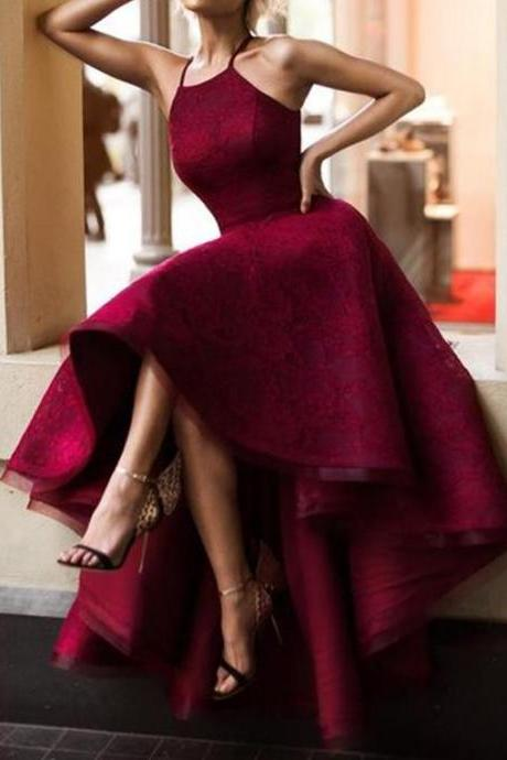 Charming Sleeveless Burgundy Open Back Long Lace Prom Dresses,Short Front Long Backless Evening Dresses,Graduation Dresses DR0513