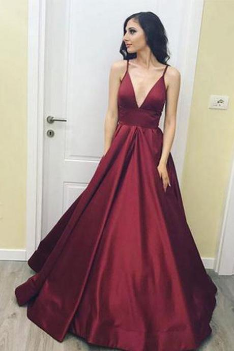 V-neck Burgundy Long Spaghetti Straps Evening Prom Dresses With Pockets,Simple Eelgant Graduation Dresses DR0519