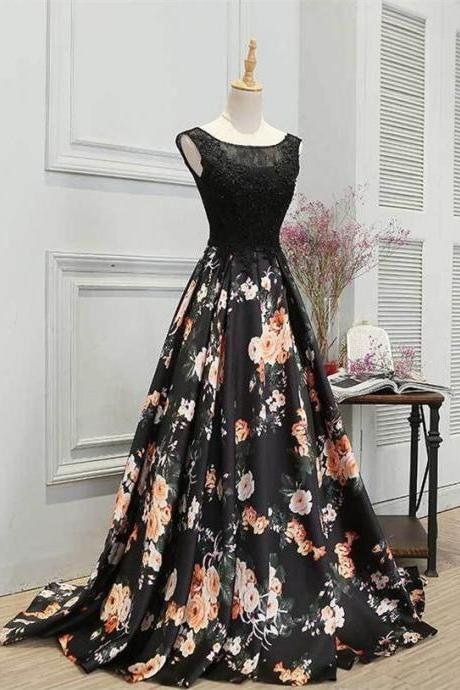 Beautiful Lace Up Long Black Lace Prom Dresses,Flower Pattern Evening Dresses,Charming Graduation Dresses,DR0520