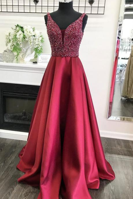 Modest Red Beading Satin Long Prom Dresses With Pockets,Beautiful Graduation Dresses DR0538