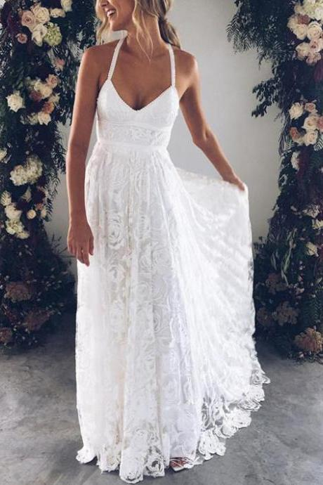 A Line Lace Beach Wedding Dresses,Ivory Long Maternity Summer Wedding Dresses,V Neck Slit Spaghetti Straps Bridal Dresses,Wedding Dresses DC11