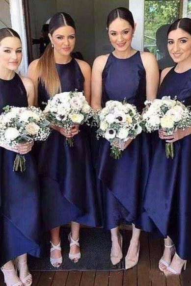 A Line Royal Blue High Low Bridesmaid Dresses,High Neck Satin Long Prom Dresses, Elegant Bridesmaid Dresses,Bridesmaid Dresses DG16