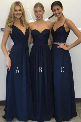 Elegant A Line Two Piece Spaghetti Straps Long Prom Dresses,Floor-Length Navy Blue Chiffon Bridesmaid Dress,Appliques Party Dress,Bridesmaid Dresses DC19