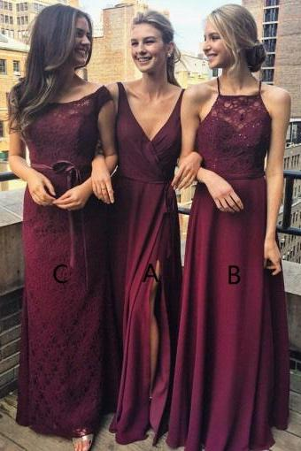 A-Line V Neck Floor-Length Burgundy Chiffon Bridesmaid Dress with Split,Elegant Unique Long Party Dresses,Bridesmaid Dresses DC21