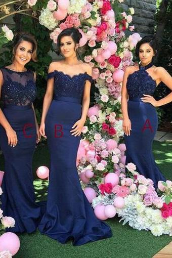 Mermaid Halter Open Back Navy Blue Bridesmaid Dress,Lace Beading Scoop Stretch Satin Long Prom Dresses,Bridesmaid Dresses DC22