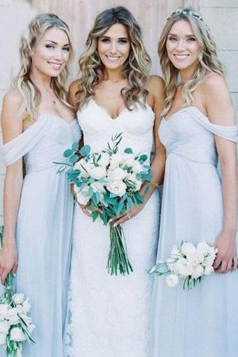 A-Line Off the Shoulder Floor-Length Long Prom Dresses,Light Blue Chiffon Bridesmaid Dress,Ruched Wedding Party Dresses,Bridesmaid Dresses DC24