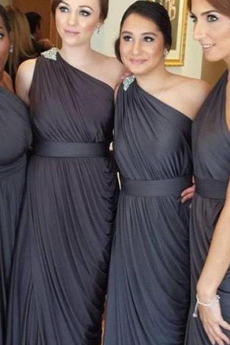Pleating Chiffon One Shoulder Long Prom Dresses,Dark Grey Floor Length Simple Elegant Bridesmaid Dresses,Bridesmaid Dresses DC35