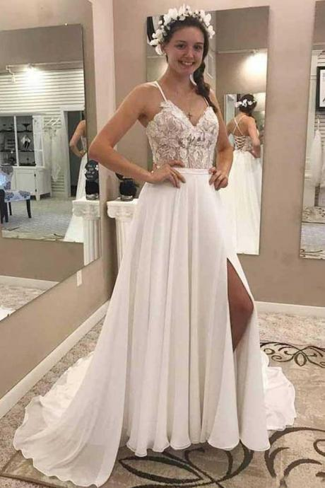 A Line V Neck Open Back Wedding Dresses,Chiffon Ivory Lace Long Lace up Bridal Dresses with Appliques,Spaghetti Straps Long Wedding Dress,Wedding Dresses DC41