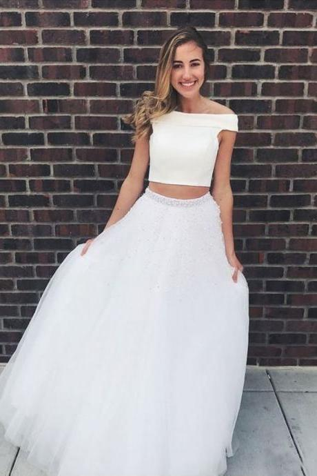 A Line Off the Shoulder Prom Dresses,Two Pieces Tulle Party Dresses,Beads Sleeveless Long Evening Dresses,Prom Dresses DC66