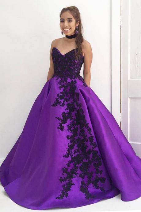 Ball Gown V Neck Prom Dresses,Strapless Black Lace Appliques Evening Dresses,Satin with Pockets Sleeveless Purple Quinceanera Dress,Prom Dresses PC71