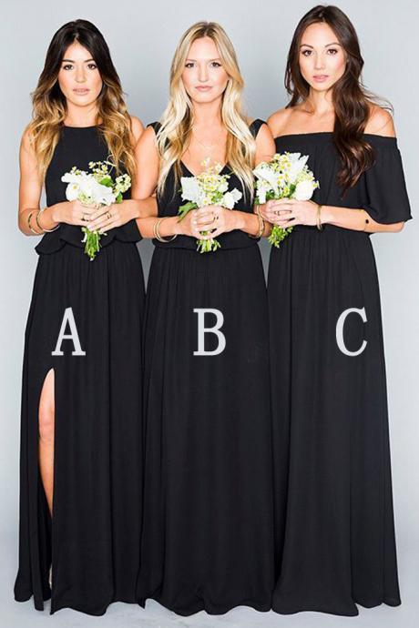 A Line Long Mismatched Chiffon Prom Dresses,Floor Length Black Bridesmaid Dresses,New Style Slit Evening Dresses,Bridesmaid Dresses DC80
