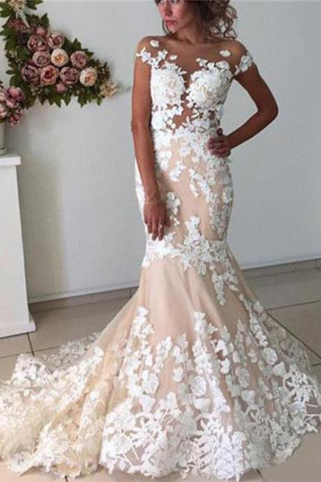 Mermaid Backless White Lace Appliques Wedding Dresses,Cap Sleeve Bridal Dresses,Wedding Dresses DC99