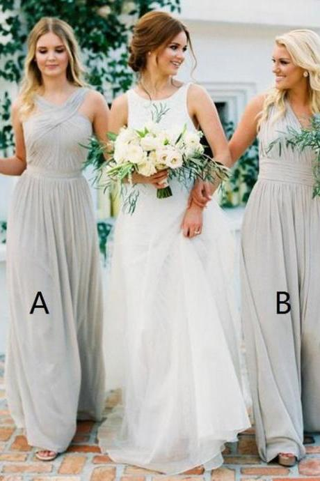 Elegant Chiffon Bridesmaid Dresses, Long Bridesmaid Dresses, Dark Grey Bridesmaid Dresses,Prom Dresses DC111