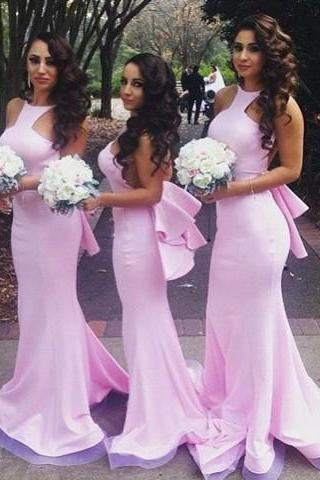 Mermaid Bridesmaid Dresses,Backless Bridesmaid Dresses,Pink Halter Bridesmaid Dresses,Bridesmaid Dresses DC112