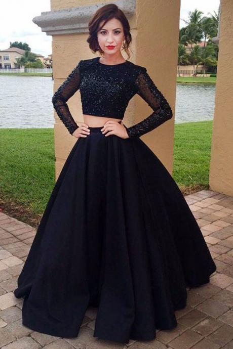A Line Long Sleeve Prom Dresses,Black Satin Two Piece Beading Scoop Party Dresses,Prom Dresses DC113