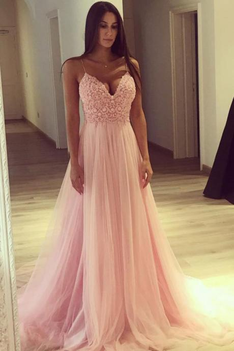 Pink Tulle Spaghetti Strap Prom Dresses,A-line V-Neck Long Prom Dress Evening Dress,Sweetheart Lace Party Dresses,Prom Dresses DC118