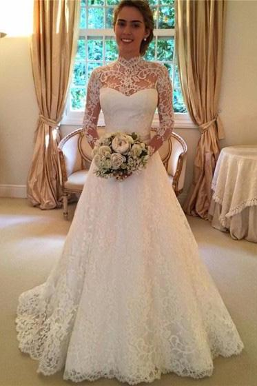 Fashion Open Back A-line High Neck Wedding Dresses,Lace Ivory Sweep Train Bridal Dresses,Sashes Long Sleeve Wedding Dresses,Wedding Dresses DC121