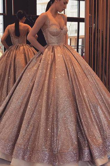 Ball Gown Spaghetti Straps Quinceanera Dresses,Sweetheart Lace up with Pockets Prom Dresses,Sequins Party Dresses,Quinceanera Dresses DC133